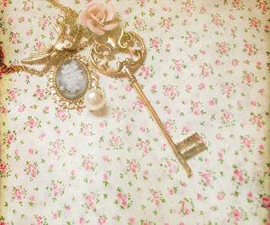 key, vintage, and flowers image