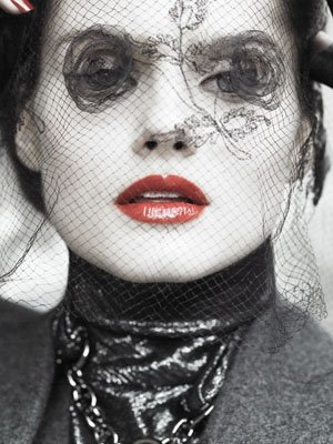 birdcage veil, netting, and red lips image