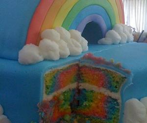 cake, rainbow, and blue image
