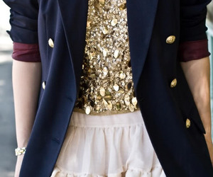 fashion, blazer, and gold image