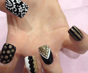black and white, nailart, and cool image