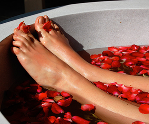 flowers, bath, and bathtub image
