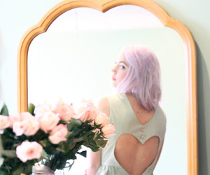 hair, heart, and lilac image