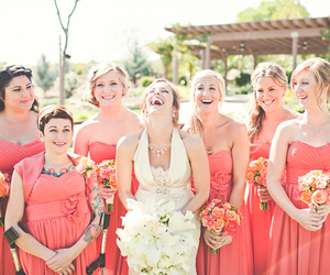 bride, bridemaids, and coral image