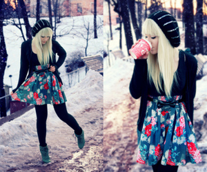 girl, winter, and blonde image