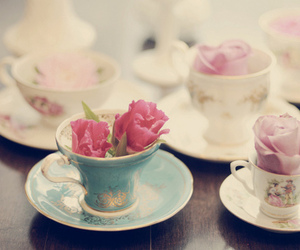 flowers, rose, and cup image