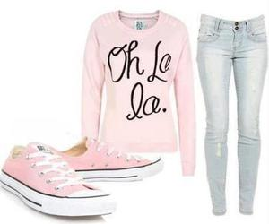 pink, jeans, and converse image
