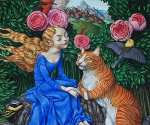cat, birds, and flower image