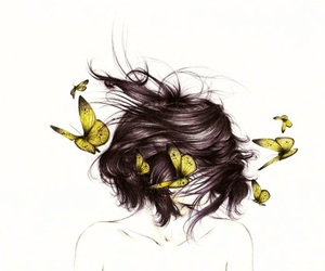butterfly, hair, and art image