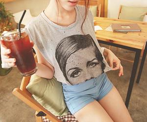 fashion, twiggy, and drink image
