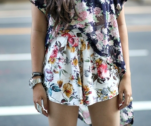 fashion, girl, and floral image