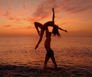 sunset, dance, and love image