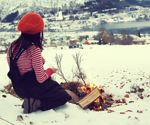 fire, winter, and girl image