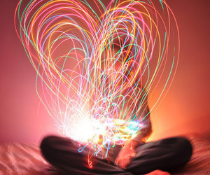 light, heart, and colors image