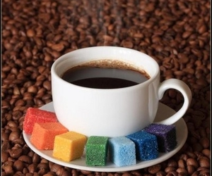 coffee, sugar, and rainbow image