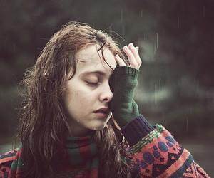 girl, rain, and cry image