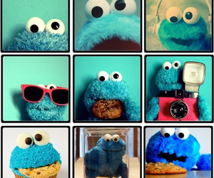 cookie monster, cookie, and blue image