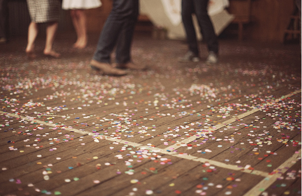 confetti, floor, and wood image