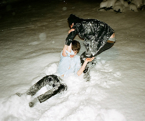 snow, boy, and friends image