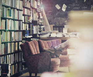 books, flowers, and library image
