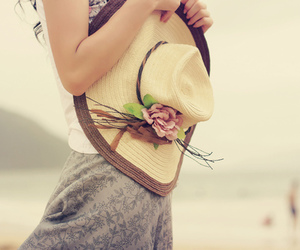 girl, hat, and beach image