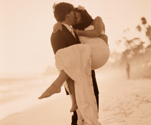bride, beach, and couple image
