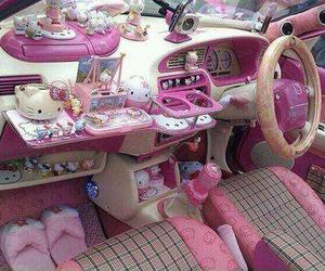 hello kitty, car, and pink image
