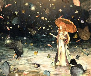 anime, butterfly, and umbrella image