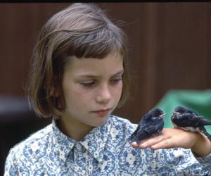 bird, girl, and child image