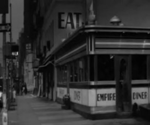 black and white, diner, and nyc image