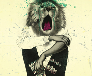 lion, art, and hipster image