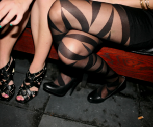 girls, heels, and stripes image