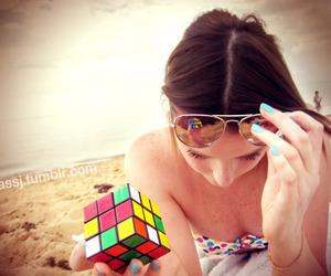 beach, girl, and aviators image