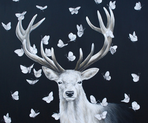 butterfly, deer, and art image