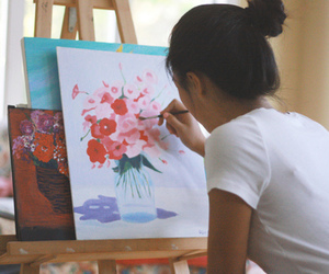 painting, flowers, and art image