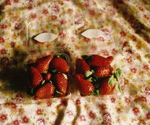 strawberry, food, and floral image