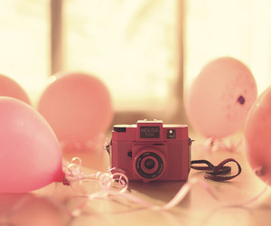 pink, camera, and balloons image