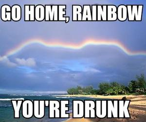 drunk, rainbow, and funny image