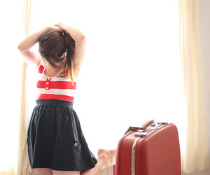 girl, suitcase, and bag image