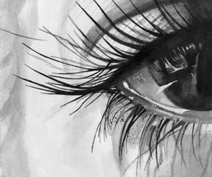 black and white, eye, and art image