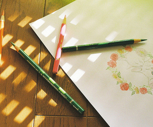 vintage, drawing, and flowers image
