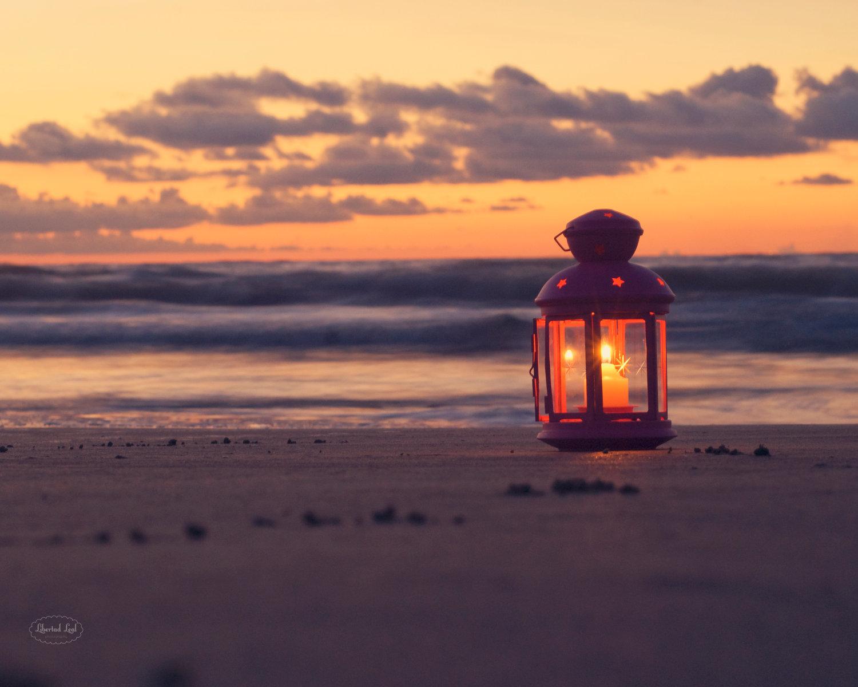 Beach Photography Lantern candle dawn beach by libertadleal