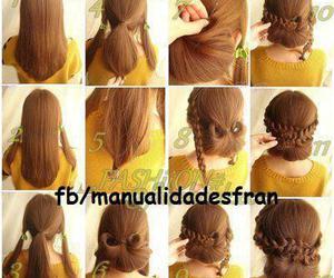 braid, bun, and hair image