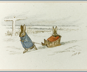 beatrix potter, bunny, and snow image