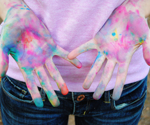 hands, paint, and colorful image