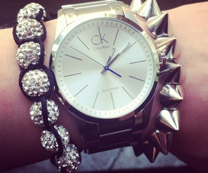 watch, silver, and spikes image