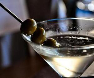 drink, martini, and olive image