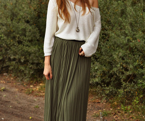 girl, style, and maxi skirt image