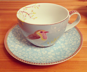 bird, blue, and chintz image