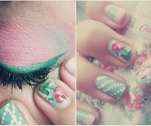 nails, pink, and green image
